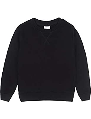 Spring&Gege Youth Basic Sport Crewneck Pullover Sweatshirts for Boys and Girls Size 11-12 Years Black