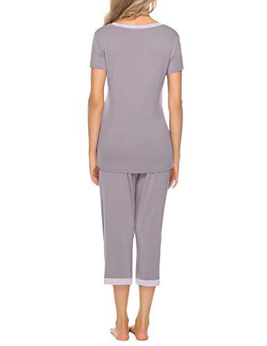 Aibrou Pijamas Mujer Verano Corto de Algodon Ropa de Domir Manga Corta Pantalon Capri