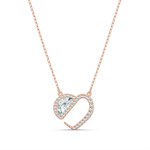 Swarovski Collar Hear Heart, Blanco, Baño en Oro Rosa, Amazon Exclusivos