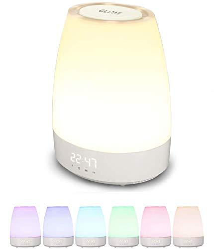 GLIME LED Lichtwecker Wake up Light Kinderwecker Nachtlicht mit 3 Stufen Helligkeit 8 Weckertöne Touch Sensor RGB Farbwechsel Tageslichtwecker Tischlampe mit USB-Kabel für Kinderzimmer Geschenk