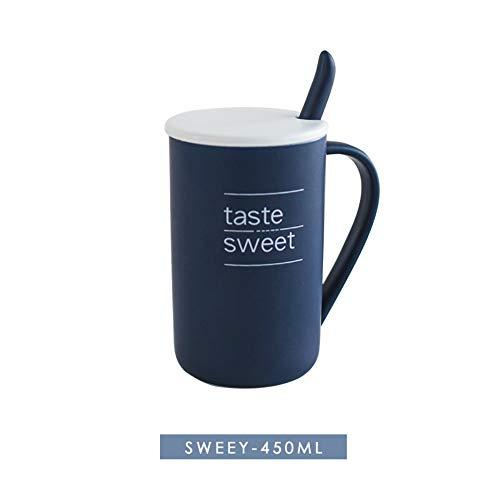 MSNLY Einfache nordische Keramikschale, Tasse, große Wassertasse, Bürokaffeetasse mit Deckellöffel