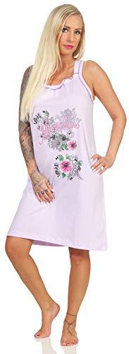 Damen Sleepshirt dünn und sommerlich aus 100% Baumwolle 40/42 (M) kurzes Nachthemd mit niedlichem Aufdruck Spaghettiträger, in modischen Sommerfarben