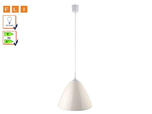 Design Hängeleuchte Lampe Leuchte Strahler mit Metallschirm Pear Weiß Durchmesser 35 cm