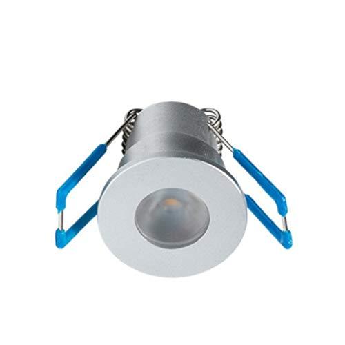 1W LED Mini Einbaustrahler, Aluminium, IP65 Wassergeschützt, 3000K Warmweiß, Dimmbar, Mini-Einbauleuchten für Innen- und Außen, ideal für Terrassendach, Bad, Dusche uvm (Silber, Einzeln, mit Netzteil)