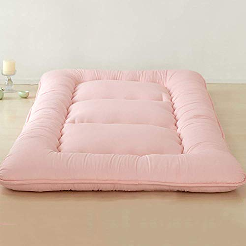 ZLJ Japanese Tatami Mattress 100% Cotton Futon Roll Up Guest Mattress thicken Washable Foldable Portable Sleeping Pad Pink 120x200cm(47x79inch)