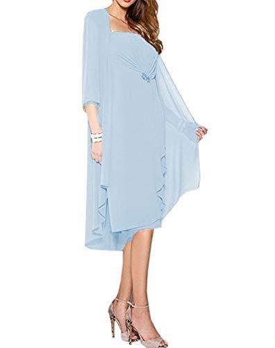 DUMOO Brautmutter Kleider mit Jacke Wadenlang Chiffon Perlen Hochzeitskleid Abendkleid Ballkleid Festkleider Light Blue EUR42