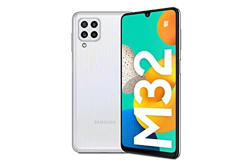 Samsung Galaxy M32 Android Smartphone ohne Vertrag, 6,4-Zoll -Infinity-U-Display, starker 5.000 mAh Akku, 128 GB/6 GB RAM, Handy in White, deutsche Version exklusiv bei Amazon