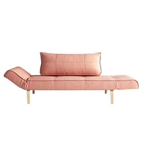 Innovation Zeal Bow Schlafsofa 200x70cm, rosa Stoff 557 Soft Coral BxHxT 178-200x81x70cm Gestell Eiche lackiert