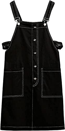 Trieskull Las Mujeres Casuales Pantalones Ajustable Correas Vestido de Falda Midi Vestido con Bolsillos (Black,6XL)
