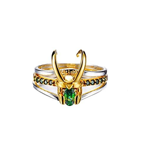 Anello Loki, Anello Thor Tre in Uno in Argento 925, Orecchini Anello Loki per La Collezione Di Costumi Cosplay Loki, Anello Regalo Gioielli Creativi per Uomo E Donna (1 pz)