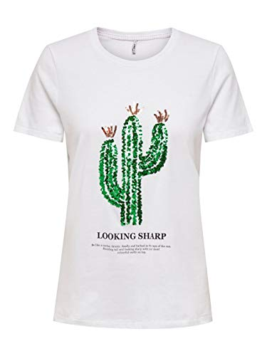 ONLY Damen ONLKITA Life REG S/S Cactus TOP Box JRS T-Shirt, Bright White, XL