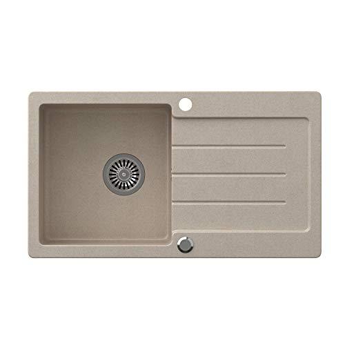 VBChome Spüle Beige 77 x 44 cm Granit Einzelbecken Einbauspüle Küchenspüle gesprenkelt reversibel Verbundspüle + Siphon