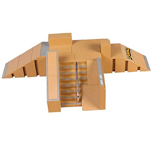 1/set Dedo Skateboard Park Kit Mini dedo Skate Park Kit Piezas de rampa con tablas de dedo para el patín para el dedo Ultimate Parks Entrenamiento Props STYLE-8091B