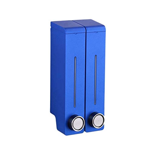 Dispensadores de jabón para baño de pared, dispensador de jabón de plástico, champú líquido, moderno y cuadrado, dispensador de jabón manual de cocina (color: azul, tamaño: doble cabeza)