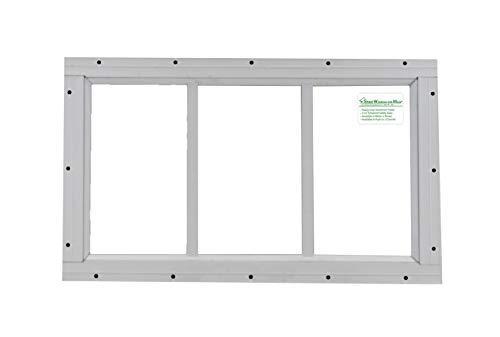 """Shed Transom Window 10"""" X 18"""" White Flush Mount"""