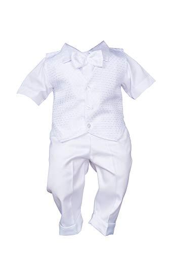 Sommer Taufanzug Weiß Festanzug Hochzeitsanzug 3Tlg Set (86/92)