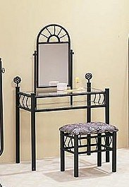 Poundex Sunburst Design Black Finish Metal Vanity Table Mirror & Stool/Bench Set