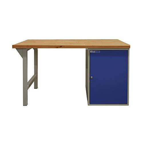 ADB Werkbank mit Stahlblechschrank + Fuß 2000x750x50mm grau Werkstatteinrichtung Zubehör Werkstatt ohne Rollen mit Schubladen