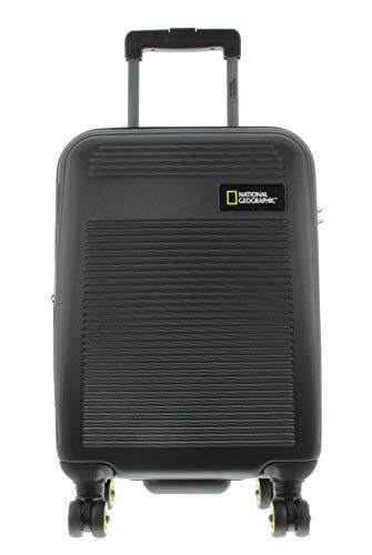 National Geographic Spinner Koffer, 4 Doppelrollen, Zahlenschloss Zoll Gr. S, M, L, dreier Set, Aerodrome Trolley (Black, S 54 cm)