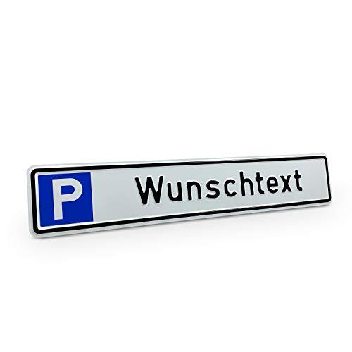 Betriebsausstattung24® Individuelles Parkplatzschild mit Wunschprägung/Wunschtext mit P-Symbol | Maße 43,0 x 8,0 cm | mit oder ohne Löcher | Aluminium geprägt
