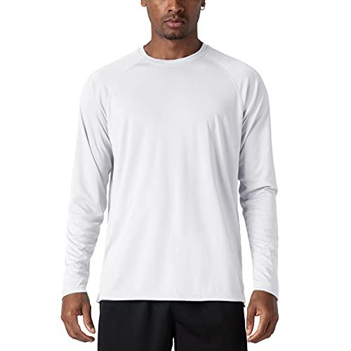 KEFITEVD Herren UV Shirt Outdoor Sonnenschutz Langarmshirt Polyester Funktionsshirt Sport Shirt Fitness Joggen Wassersport Performance T-Shirt Weiß 3XL