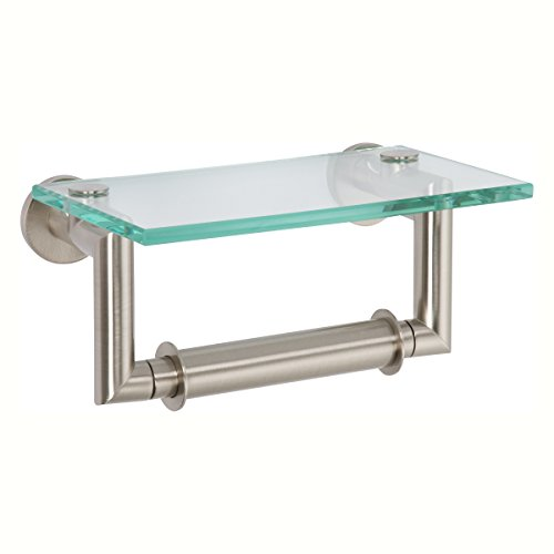 Ginger 4627/SN Kubic Double Post Toilet Tissue Holder with Glass Shelf, Satin Nickel