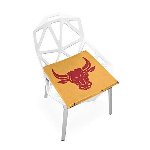 LORONA Bull Head Schwarzes Symbol Sitzkissen Stuhlkissen Memory Foam Pads für gesundes Sitzen zu Hause, Büro, Küche, Rollstuhl, Esszimmer, Terrasse, Camping | Quadrat 16 'x 16'