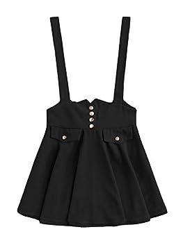 MakeMeChic Women s Casual Straps High Waist Suspender Skirt Pinafore Overall Dress Bow Black L