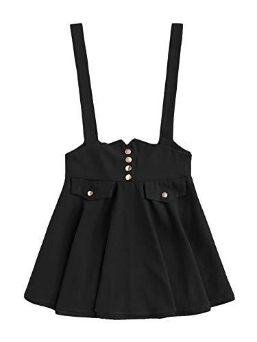 MakeMeChic Women's Casual Straps High Waist Suspender Skirt Pinafore Overall Dress Bow Black S