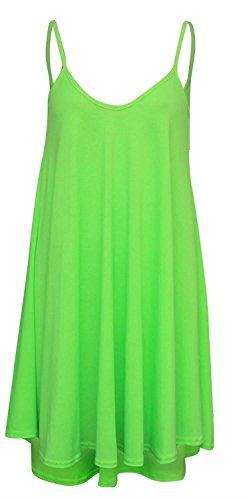 Chocolate Pickle ® Neue Frauen Plus Size Cami Strappy Plain Tops Lange Swing-Kleid Neon Green 40-42