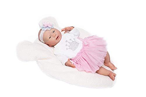 Guca 18053 Poupée bébé en Silicone avec Jupe en Tulle Rose et Bandeau 46 cm