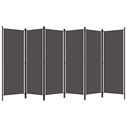 Estink Biombo de 6 paneles, separador de ambientes, de tela y hierro barnizado en polvo, 300 x 180 cm, color antracita