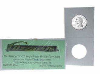 Guardhouse 2×2 Staple Paper Coin Holder for Quarter, 50 pack