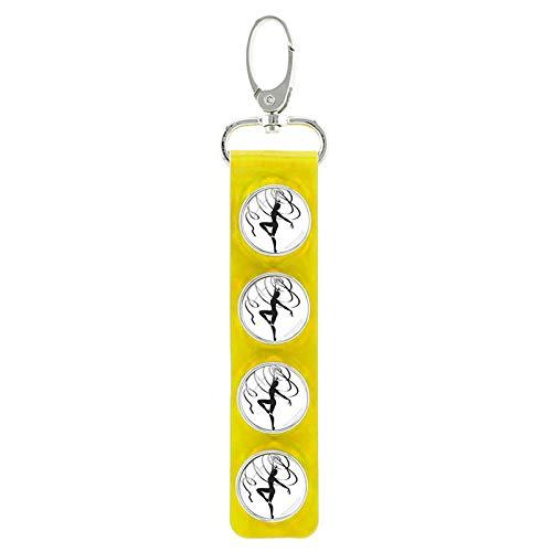 Neue Ankunft Glas Gymnastic Snap Button Schlüsselbund Turner Silhouette Muster Pu Leder Schlüsselanhänger Charm Anhänger