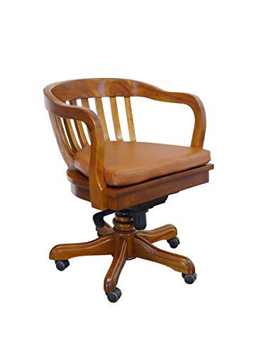 Antike Fundgrube Bürostuhl mit Rollen Massivholz mit abnehmbaren Sitzkissen | Schreibtischstuhl Chefsessel | Heller Nussbaum-Farbton (9772)