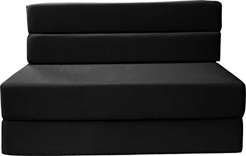 D&D Futon Furniture Folding Foam Mattress, Sofa Chair Bed, Guest Beds (Twin Size, Black)
