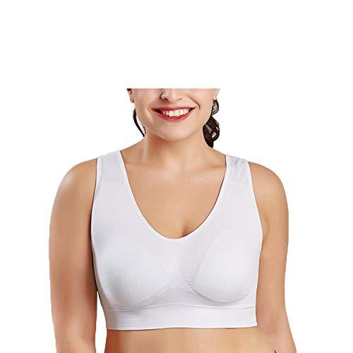 YY Cherry M-XXL XXXL 4XL 5XL 6XL Big Size Sports Bra,Black White Breathable Wire Free Daily Yoga Bra,Women Padded Sports Top,White,6XL