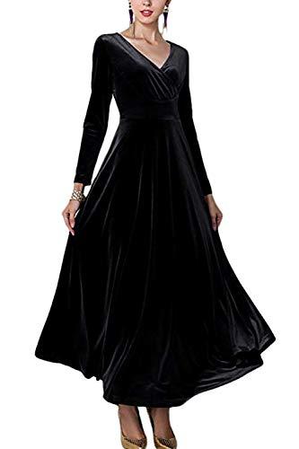 Sevozimda Damen Samt Kleider Lang Langarm V-Ausschnitt Elegant Party Maxi Kleid Black XXL