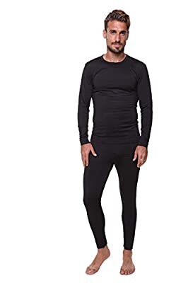 Men's Thermal Set, Lightweight Ultra Soft Fleece Shirt and Pants,Black,Large