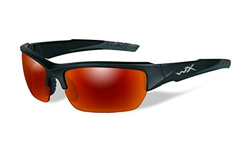 Wiley X WX Valor - Occhiali da sole con montatura Realtree Xtra, Montatura Nera/Lente Arancione (Black 2 Tone/Polarized Crimson/Smoke), S/L