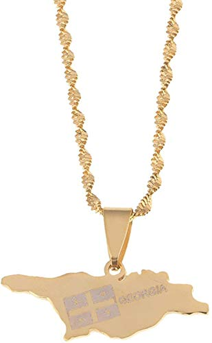 huangxuanchen co.,ltd Necklace Stainless Steel Georgia Map Pendant Necklace Gold Color Georgian Map Chain Jewelry