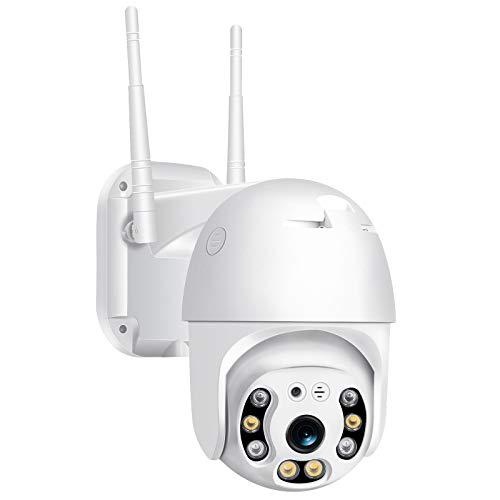 SUN JUNWEI PTZ cámara de Seguridad Exterior, WiFi CCTV IP hogar de la cámara, con la visión Nocturna de 2 vías de Audio,Movimiento/Sonido Detección/Resistente a la Intemperie