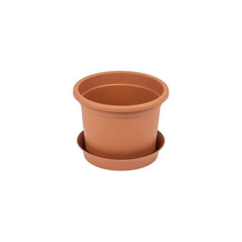 Vaso per piante PLASTICA con sottovaso, capacit? 0,15 Lt colore: terracotta