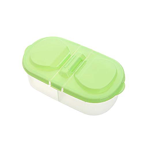 Bento Lunchboxen - Brotdose mit 2 Fächern und Deckel Mahlzeit Brotbüchse - Bento Box für Kinder und Erwachsene - BPA-frei, Spülmaschine, Mikrowelle, Gefrierschrank (Grün)
