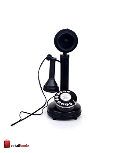 Antique Replica Rotery Dial Home Decor Candlestick Functional Antique Finish Desk Telephone (Black 1)