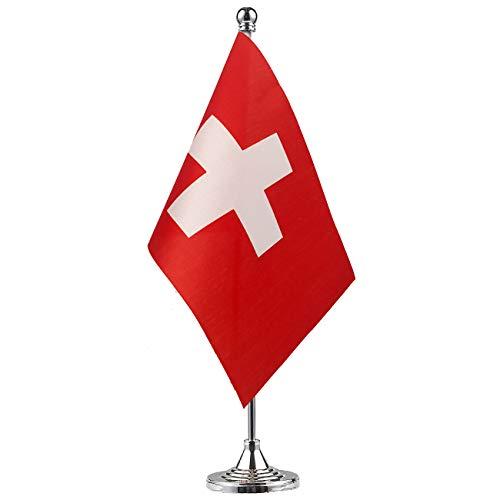 GentleGirl.USA Switzerland Flag Swiss Flag Table Flag,Desk Flag,Office Flag,International World Country Flags Banners,Festival Events Celebration,Office Decoration,Desk,Home Decoration