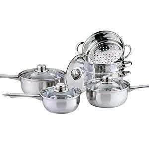 Highlands COOKWARE + Steamer Set Stainless Steel Saucepan PAN Pot Kitchen Cook Sauce Induction (3pc Pan Set + 3 Tier Steamer - Induction Based)