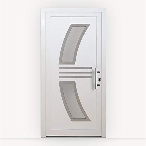 HORI® Haustür Monaco I Kunststoff Haustüre mit Glaseinsatz I Weiß I Größe 1980 x 980 mm I DIN rechts