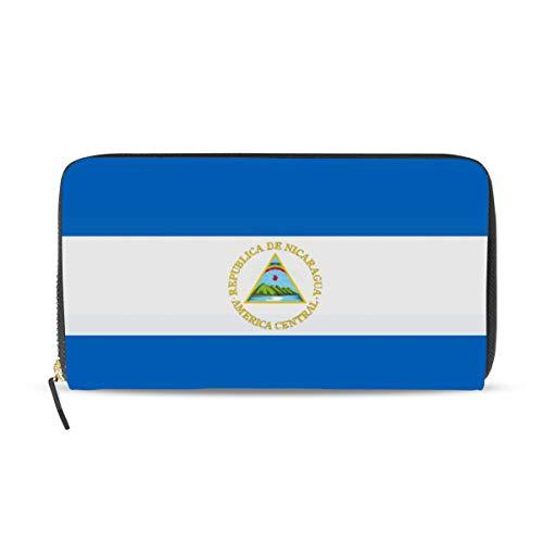 Cartera de cuero con la bandera de Nicaragua para mujer, con tarjetero y bolso de mano, regalo para ella