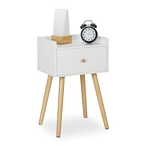 Relaxdays Mesita de Noche con cajón y Estante, Estilo Retro, para Dormitorio, MDF, 62 x 40 x 32 cm, Color Blanco y Natural, Madera